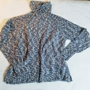 Chaps Blue White Marled Cowl Neck Sweater